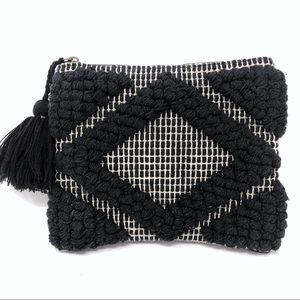 World Market Black Tapestry Woven Clutch